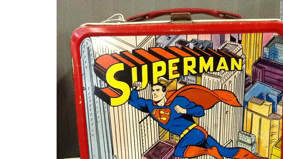 This Superman metal lunchbox from Thermos arrived in 1967. The classic metal lunchbox era ended with concerns that pieces of metal would be used as weapons.