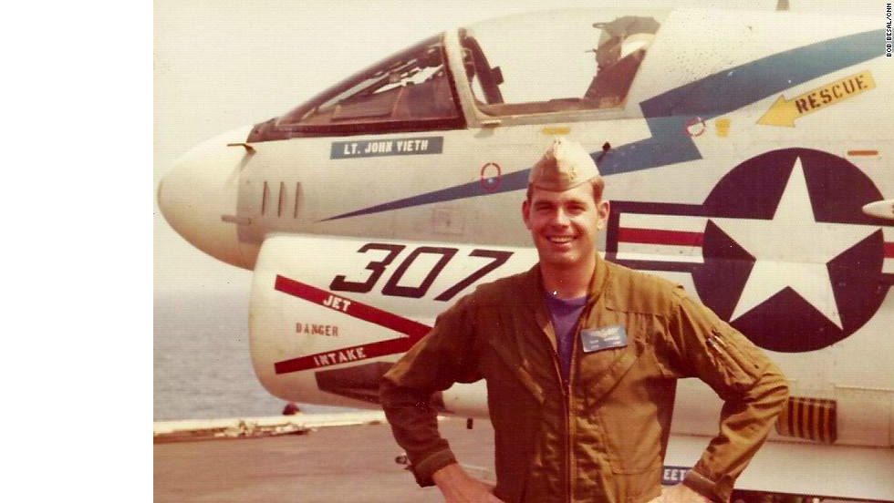Bob Besal on the USS America in 1974 in the North Atlantic when he was a Lieutenant. Besal was piloting a Vought A-7C on a training mission when his aircraft collided with another plane at 15,000 feet, sending his jet into the Atlantic. He survived, but thought the plane lost.