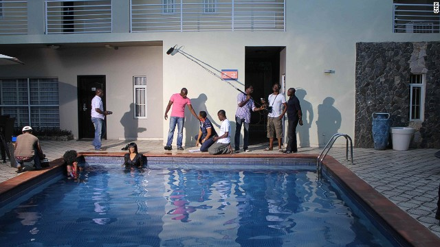 "The set of ""Journey to Self,"" a new Nollywood movie about the friendship and hardship of four women."