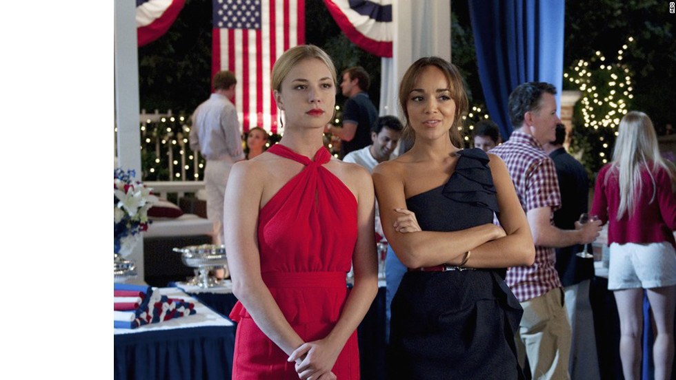 "In an episode in the first season of ""Revenge,"" protagonist Emily Thorne, left, and her friend Ashley Davenport attended a party in the Hamptons. ""This was our 4th of July episode,"" said Jill Ohanneson, a costume designer for the series, ""so everyone was dressed in red, white or blue. We modified Emily's red Jason Wu dress by removing the skirt ruffles as they were a bit much for her ... but the neckline was phenomenal on her. Ashley's dress was BCBG and we wanted hers to be navy as she was the event coordinator ... working the party."""