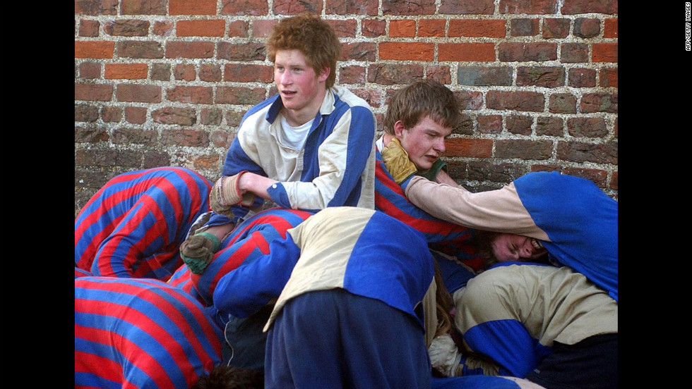 Prince Harry takes part in the Wall Game at Eton College in March 2003.