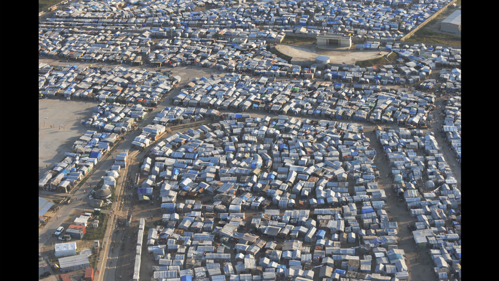 An aerial view of a tent city in a Port-au-Prince is seen on January 10, 2011, one year after the earthquake.