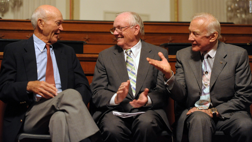 Collins,  Armstrong and Aldrin are honored on Capitol Hill in July 2009 on the 40th anniversary of their mission.