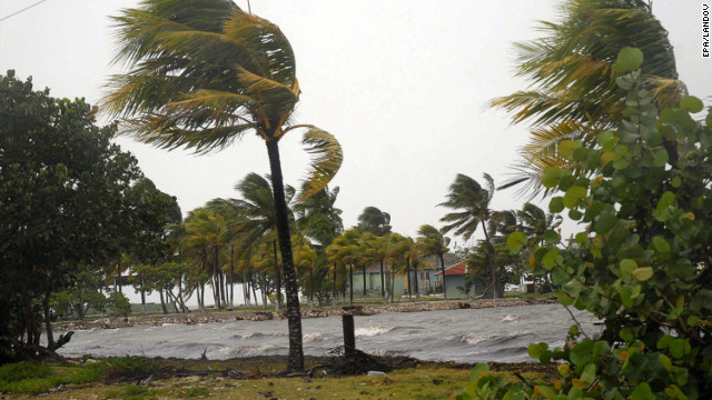 Image #: 19139683    epa03370096 View of strong winds hitting the north province of Sancti Spiritus, in Cuba, 25 August 2012. The center of Tropical Storm 'Isaac' touched land on 25 August in Guantanamo province, at the eastern end of Cuba, at approximately 15:00 GMT, with sustained winds of over 150 km per hour and with a north-northwest path toward Florida, USA.  EPA/OSCAR ALFONSO SOSA /LANDOV