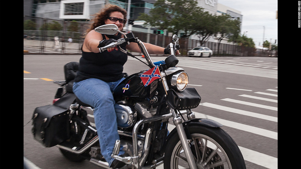 Motorcyclists roll into Tampa on Saturday.