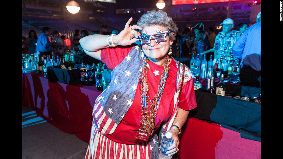 Christine Gill from Alaska poses for a picture at a party Sunday, August 26, at Tampa's Tropicana Field.