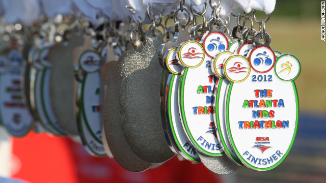 Each participant received a medal for completing in the Atlanta Kids Triathlon in Norcross, Georgia.