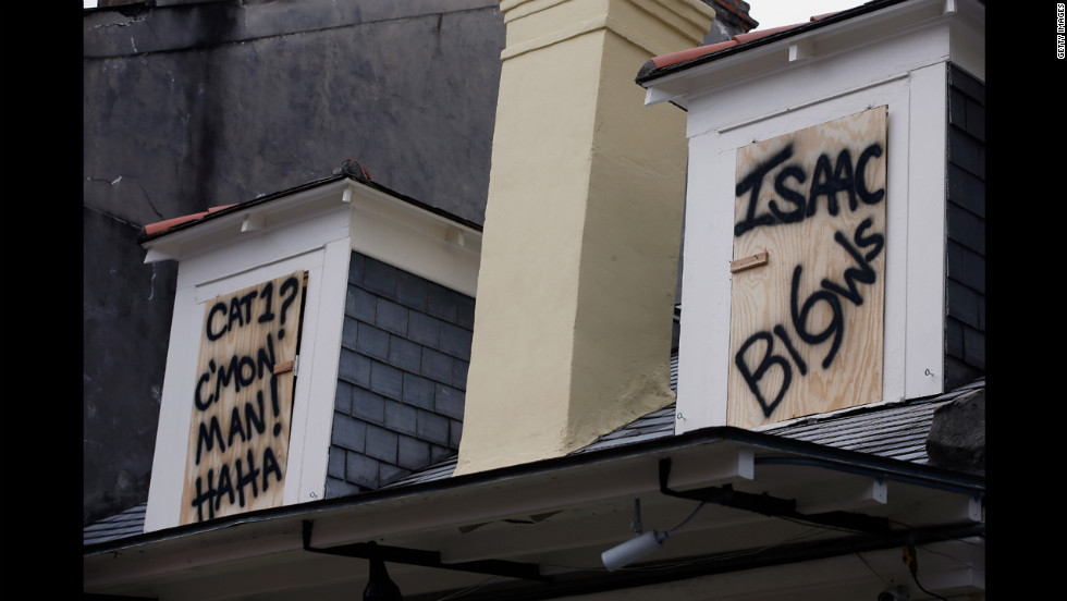 A sign in the French Quarter makes fun of Hurricane Isaac.