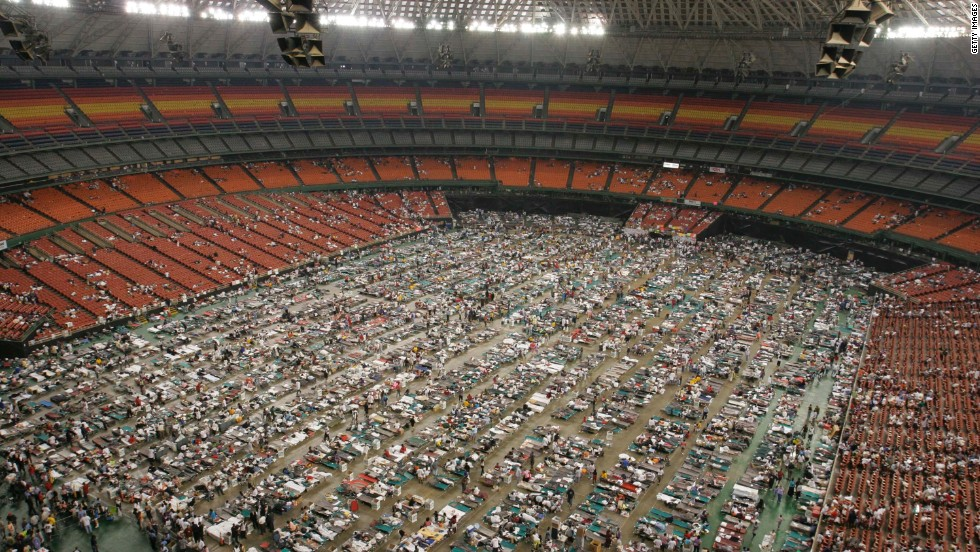 Evacuees crowd the floor of the Astrodome in Houston on September 2, 2005. The facility housed 15,000 refugees who fled the destruction of Hurricane Katrina.