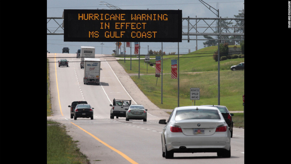 A Mississippi Department of Transportation sign in Hattiesburg warns southbound motorists on U.S. 49 of rough weather conditions on Tuesday, August 28. Hurricane Isaac is expected to drop heavy rain on the Mississippi Coast over the next couple of days.