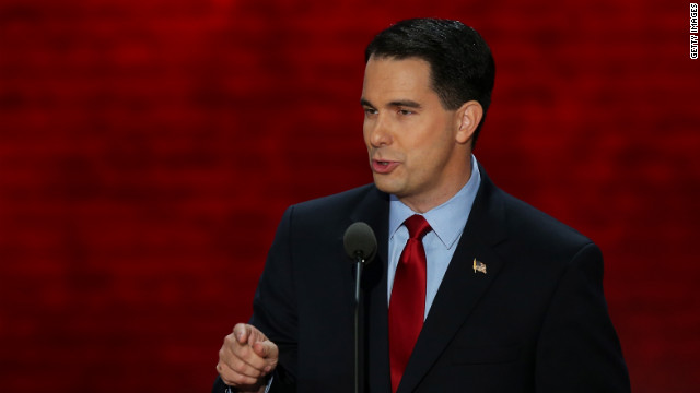 TAMPA, FL - AUGUST 28: Wisconsin Gov. Scott Walker speaks during the Republican National Convention at the Tampa Bay Times Forum on August 28, 2012 in Tampa, Florida. Today is the first full session of the RNC after the start was delayed due to Tropical Storm Isaac. (Photo by Mark Wilson/Getty Images)