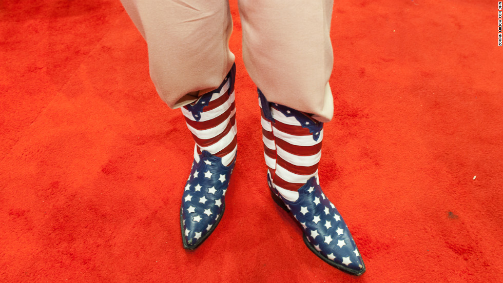 California delegate Don Genhart shows off his American flag cowboy boots.