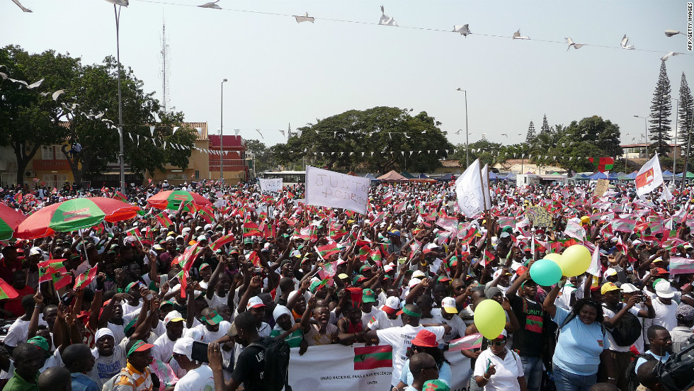 Thousands of Angolans take part in a demonstration in Luanda organized by the main opposition party, UNITA, to ask for free and fair elections on May 19, 2012.