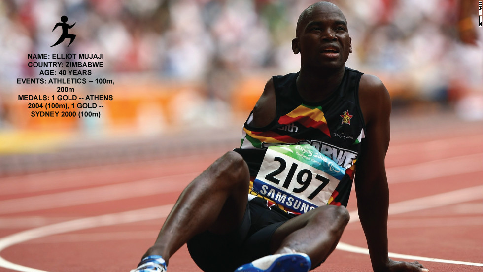 Elliot Mujaji was a member of Zimbabwe's national athletics team and qualified to compete at the 1998 Commonwealth Games, when he suffered severe burns in an electrical accident. His right arm was amputated, and he remained in a coma for two months. He came back to athletics, and won the first ever Paralympic gold for his country.