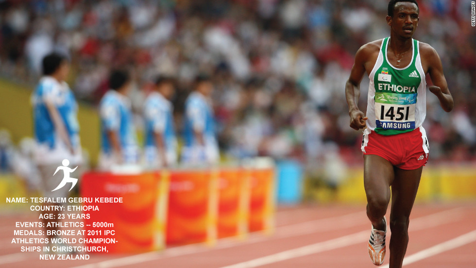 Tesfalem Gebru Kebede won a bronze medal in last year's world championship and is one of Ethiopia's top athletes. He lost his hand when his house was bombed during the Ethio-Eritrea war.