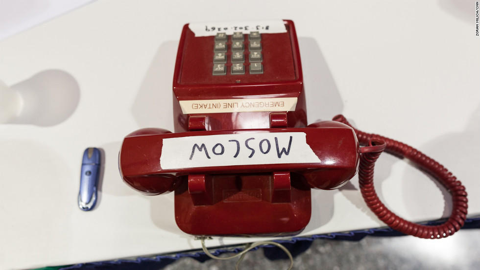 "A phone labeled ""Moscow"" sits in the press center at the Republican National Convention."