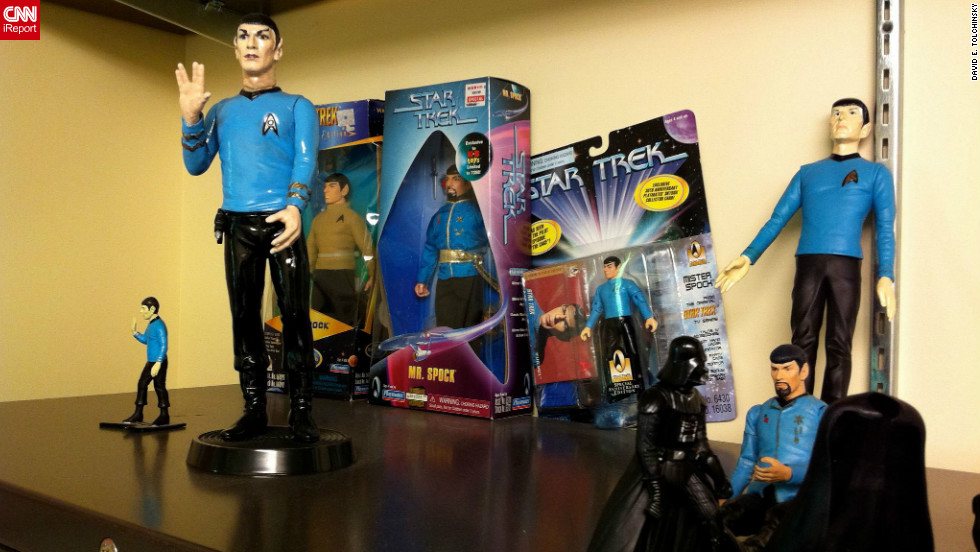 "<a href=""http://ireport.cnn.com/docs/DOC-830083"" target=""_blank"">Film professor David Tolchinsky</a> has a collection of Spock dolls that he describes as ""a cheaper mid-life crisis than collecting Porsches""."