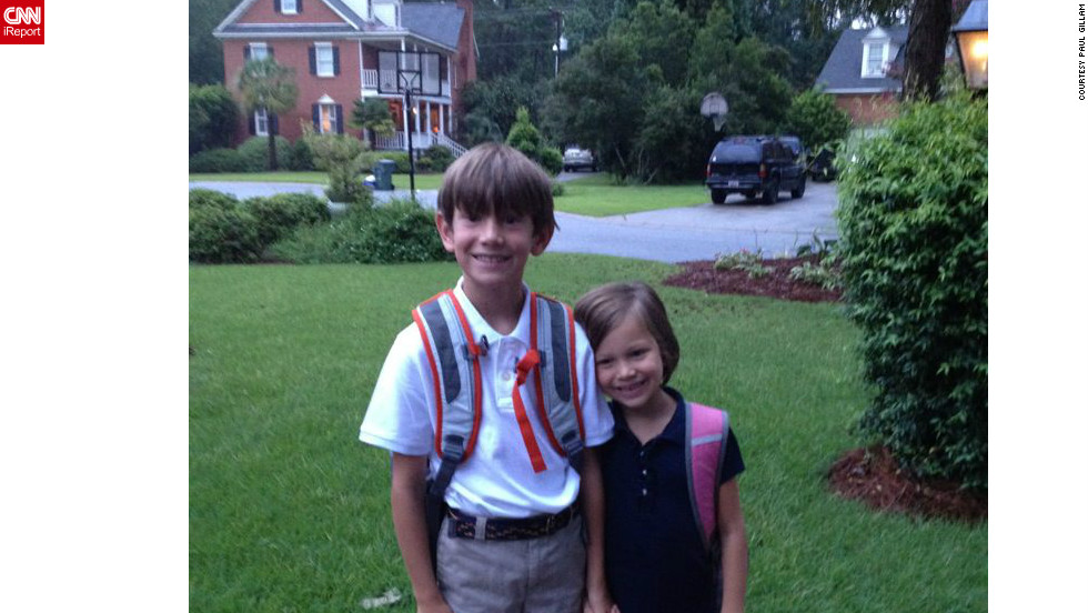 Big brother Tradd and little sister Lila flashed a smile for the camera before they headed off to their first day of third and first grade in Columbia, South Carolina.