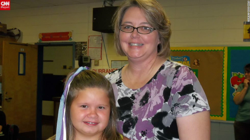 "Kayligayle poses with her fourth grade teacher, Mrs. Wiggins, on her terrific first day of school in Deatsville, Alabama. ""She talked about her day all the way home with great energy and excitment,"" her mom Kelli White told CNN."
