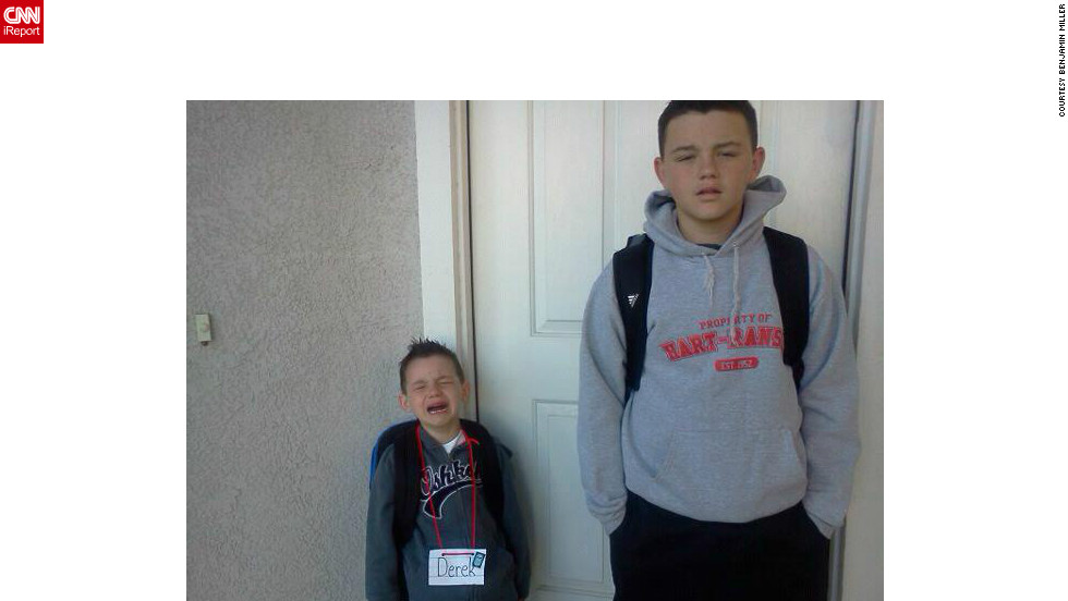 Benjamin Miller says his boys Derek (left) and Zach had a wonderful first day of school in Riverbank, California, despite their pained expressions captured in this priceless photograph.