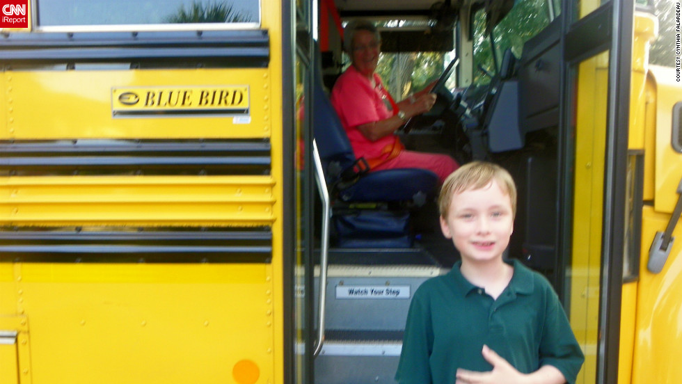 "In Vero Beach, Florida, Cynthia Falardeau says her 9-year-old son Wyatt grew so much over the summer that he tried on three shirts before he found one that fit. ""It was pure joy to see his excitement and confidence while boarding that school bus!"" she said."
