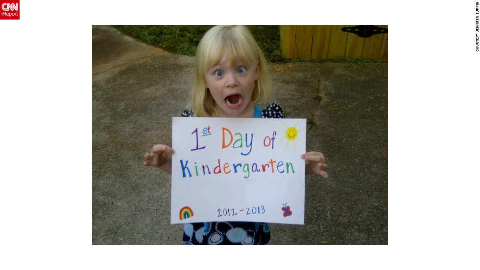 "Five-year-old Aine was bursting with excitement about her first day of kindergarten in Kennesaw, Georgia. Her mother Jennifer Turpin says her daughter wanted to wear a dress so she could be fancy ""like a princess."""
