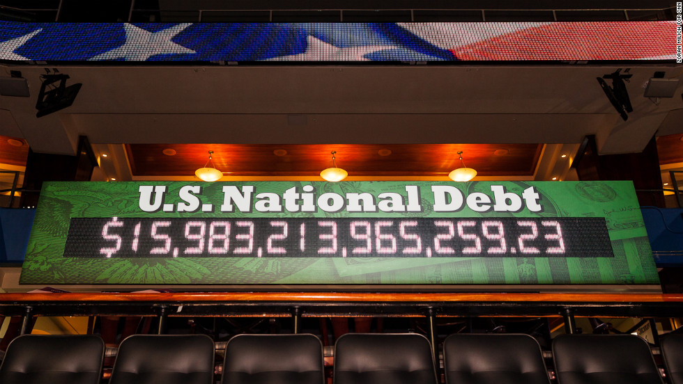 The debt clock is on display in the convention hall.