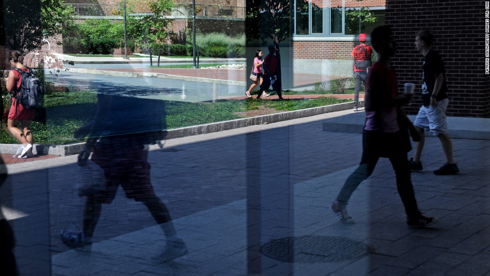 Students walk through campus on the first day of class on Monday, August 27. The campus is home to more than 40,000 students.