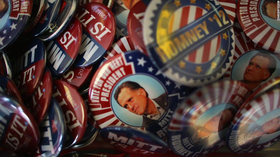 Political buttons are sold in Tampa as the city prepares for the RNC on Saturday, August 25.