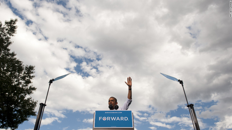 President Obama waves after speaking at Colorado State University on Tuesday, August 28.