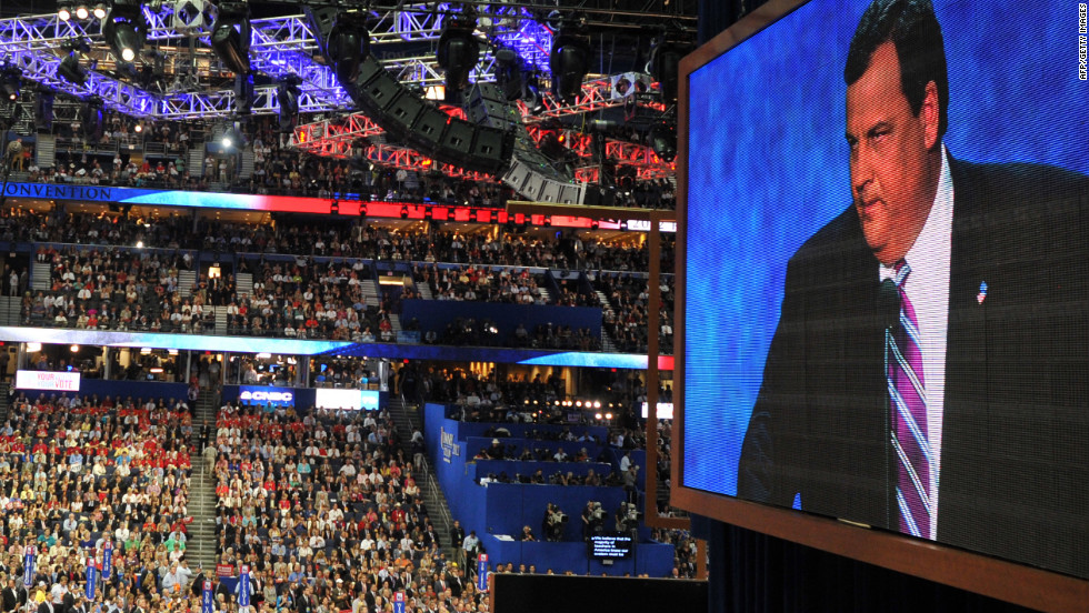 New Jersey Gov. Chris Christie adresses supporters at the RNC on Tuesday, August 28.