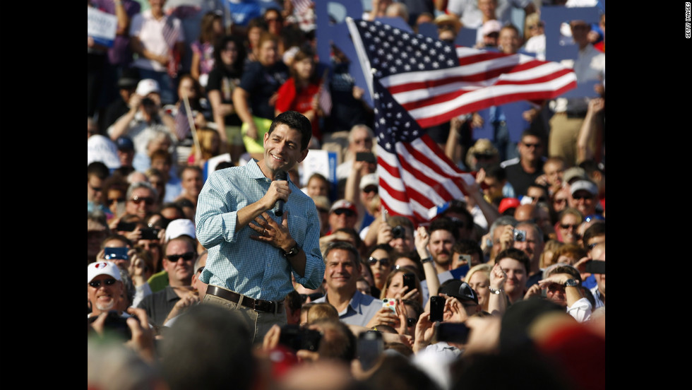 Ryan speaks to supporters on Saturday, August 25, in Columbus Grove, Ohio.