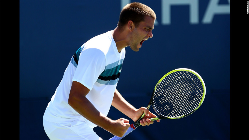 Mikhail Youzhny of Russia reacts during his match against Gilles Muller of Luxembourg.