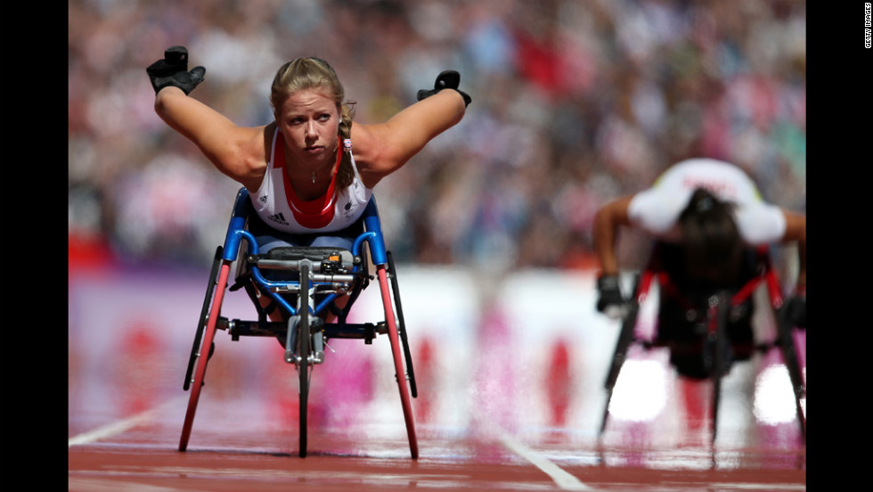 Hannah Cockroft of Great Britain competes in the women's 100 meters on day 2 of the London 2012 Paralympic Games at Olympic Stadium on Friday, August 31.