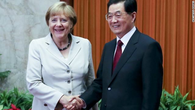 German Chancellor Angela Merkel and Chinese President Hu Jintao in Beijing on August 30, 2012.