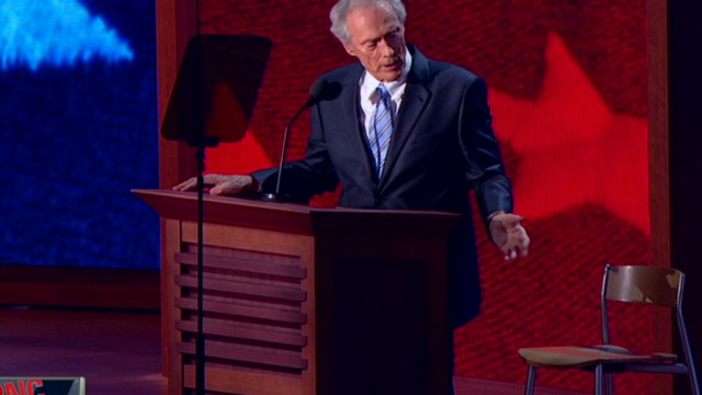 Eastwood uses empty chair as prop