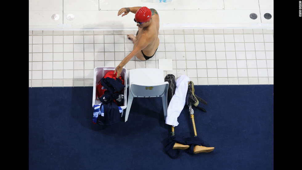 British swimmer Anthony Stephens prepares for the men's 50-meter freestyle final.