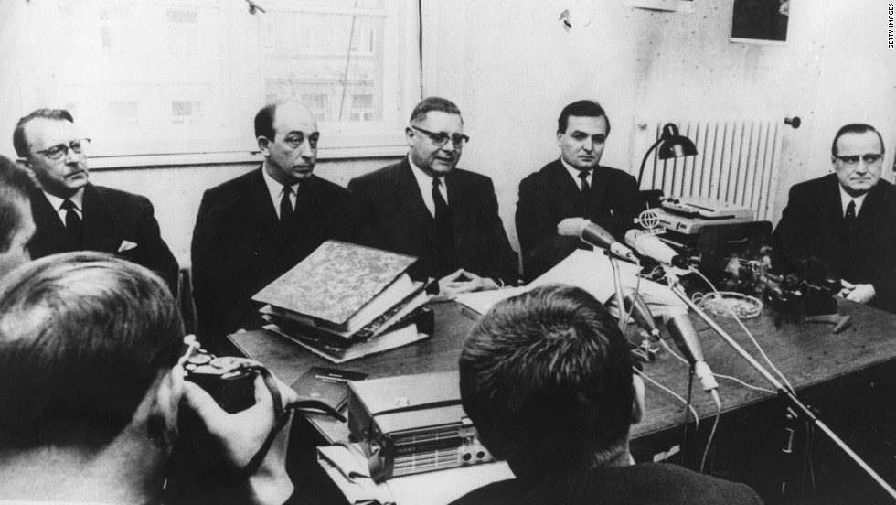 Members of the German public prosecutor's office announce on March 15, 1967,  that pharmaceutical company executives will go on trial over the Thalidomide case.