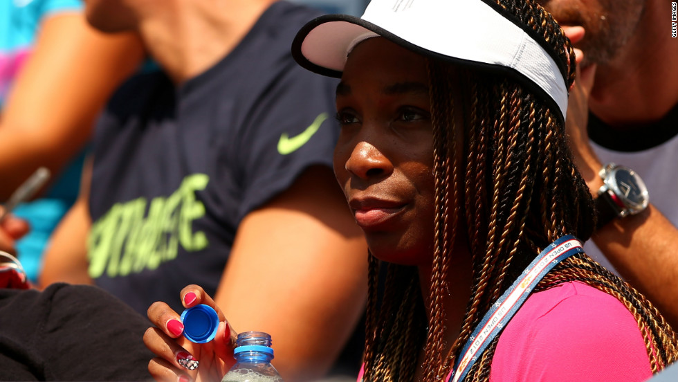 Venus Williams of the United States watches a match.