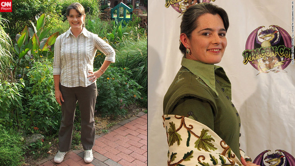 "<strong>April Moore as Cadsuane Melaidhrin (""The Wheel of Time"")</strong>April Moore's love of costuming comes at least partially from childhood memories of her mother. ""My mother made dresses for me in colors to match flowers blooming at specific times of year,"" she said. ""We'd stop by a nursery's field of cannas for a quick photo of me in my new red dress, or she'd pose me under the climbing roses in a dress of pink and white. I guess those memories ... left me with an <a href=""http://ireport.cnn.com/docs/DOC-831356"">appreciation for clothing</a> as an occasion, as a spectacle in and of itself.""Now married to a man who loves costuming as much as she does, Moore says working on outfits is ""a welcome diversion from the everyday things that most adults have to do"" for both her and her husband. ""I've never forgotten that joy of spectacle with which she (her mother) gifted me: the pure pleasure of wearing a special outfit to commemorate a specific time, place or event, historic or fictional."""