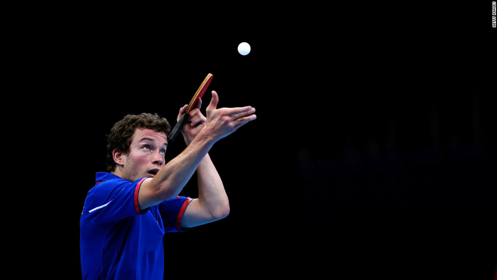 Bastien Grundeler of France serves during his men's singles Class 6 bronze medal table tennis match against Peter Rosenmeier of Denmark.