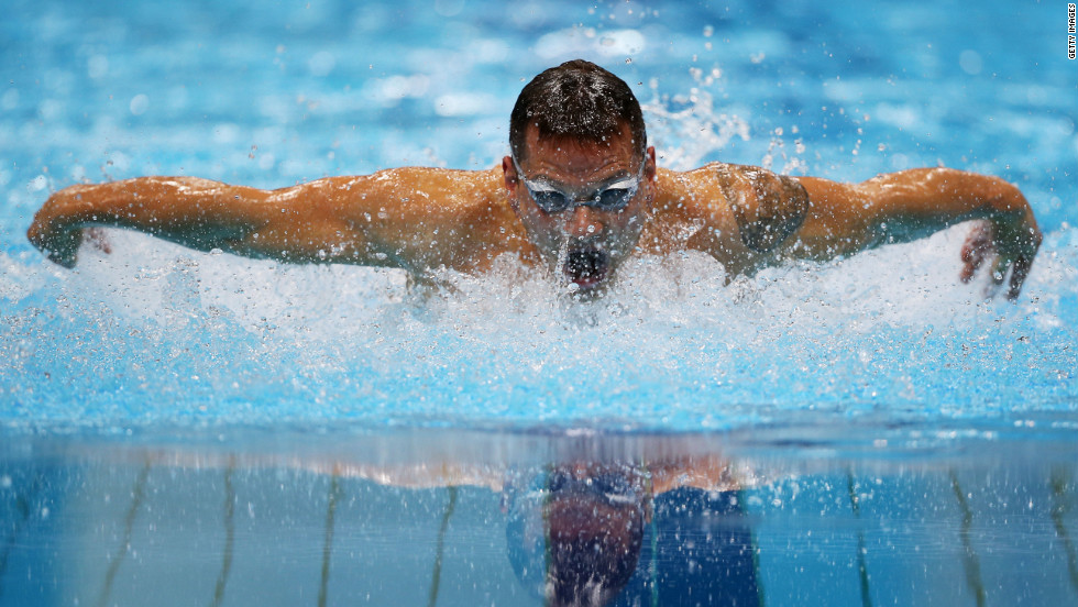 Mihovil Spanja of Croatia competes in the men's 200-meter individual medley - SM7 heat 1.