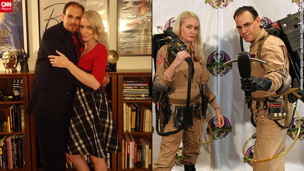 "<strong>Patrick Creel and Lisa Stevens as the ghostbusters (""Ghostbusters"")</strong>""It usually consists of a good <a href=""http://ireport.cnn.com/docs/DOC-836516"">full year of research</a> and gathering many different materials,"" says Patrick Creel of his costuming choices. For these outfits, for example, Creel and his girlfriend, Lisa Stevens, had to procure items from ""the flight suit all the way down to to the most specific of details as the Raytheon Crank Knob that goes on the proton pack during construction."" And those packs, by the way, weigh 45 pounds.Then, once at Dragon*Con, ""it usually takes about 15 to 20 minutes to suit up,"" Creel explained."