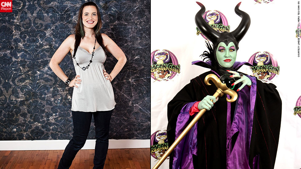 "<strong>Lindze Merritt as Maleficent (""Sleeping Beauty"")</strong>Lindze Merritt's costume was so complex, she needed a little outside help.""The horns (were) made in fiberglass by a local sculptor I commissioned, and had to be sculpted custom to my head,"" she said. But she and her mother made the dress themselves, working for months on the complicated ensemble. And in costumes as elaborate as this one, there are some additional considerations:""The costume is also very, very hot, so I have a handheld AC device to keep me cool,"" said Merritt. ""But it's very uncomfortable.""Why bother with all the work and discomfort? ""I chose this character because she is the best Disney villainess,"" said Merritt. ""She's <a href=""http://ireport.cnn.com/docs/DOC-830000"">an amazing character</a> and I hope to do her justice."""