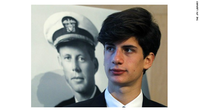 Jack Schlossberg, next to a photo of John F. Kennedy