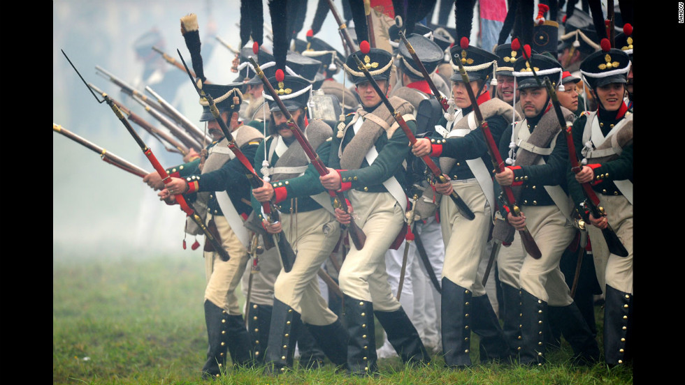 Actors in Russia re-enact the Battle of Borodino, fought during Napoleon's 1812 invasion of Russia, on Sunday to mark the 200th anniversary of the battle.