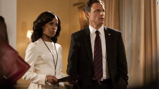 "Kerry Washington plays Olivia Pope and Tony Goldwyn plays President Fitzgerald Grant on ""Scandal."""