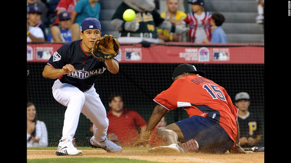 Mario Lopez and Duncan play in the 2010 MLB All Star Celebrity Softball Game in Anaheim, California.