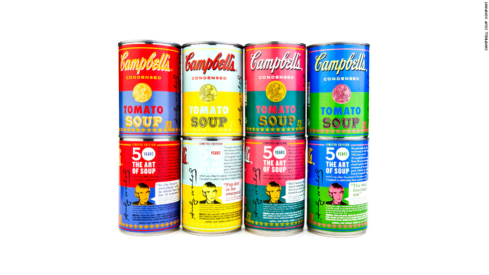 The Campbell Soup Company celebrates the 50th anniversary of Andy Warhol's soup can series with special edition labels.
