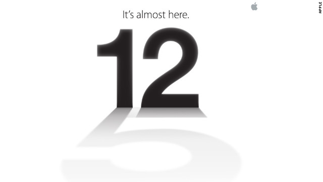 "Apple sent this media invite to its September 12 event, widely expected to be the launch of the next iPhone. Note the ""5"" in the shadow."